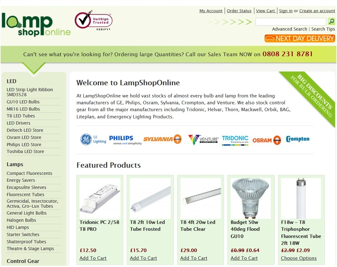 LampShopOnline Ltd Homepage