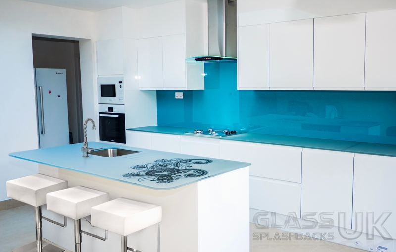 Sky Blue Coloured Splashbacks