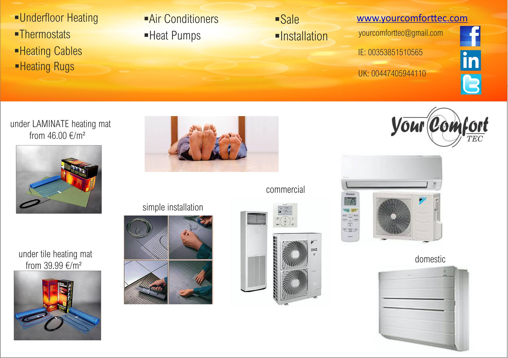 Electric Underfloor Heating , Heat Cables , Air conditioning
