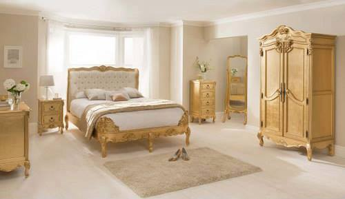 Gold French Style Bedroom Furniture Set