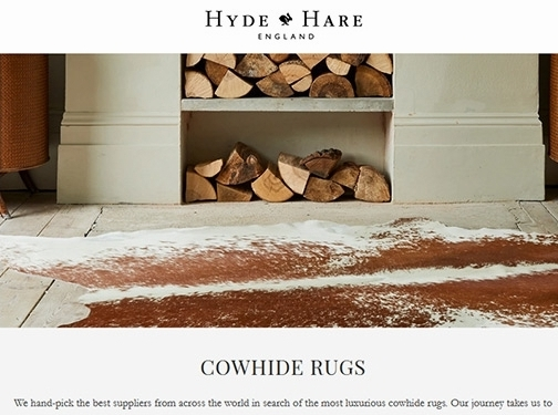 https://www.hydeandhare.com/collections/cowhide-rugs website