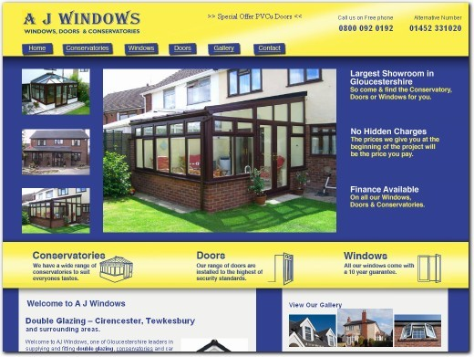 http://www.ajwindowsanddoors.co.uk/double-glazing-cirencester.php website