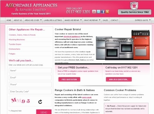 https://www.affordableappliancerepairsltd.co.uk/ website